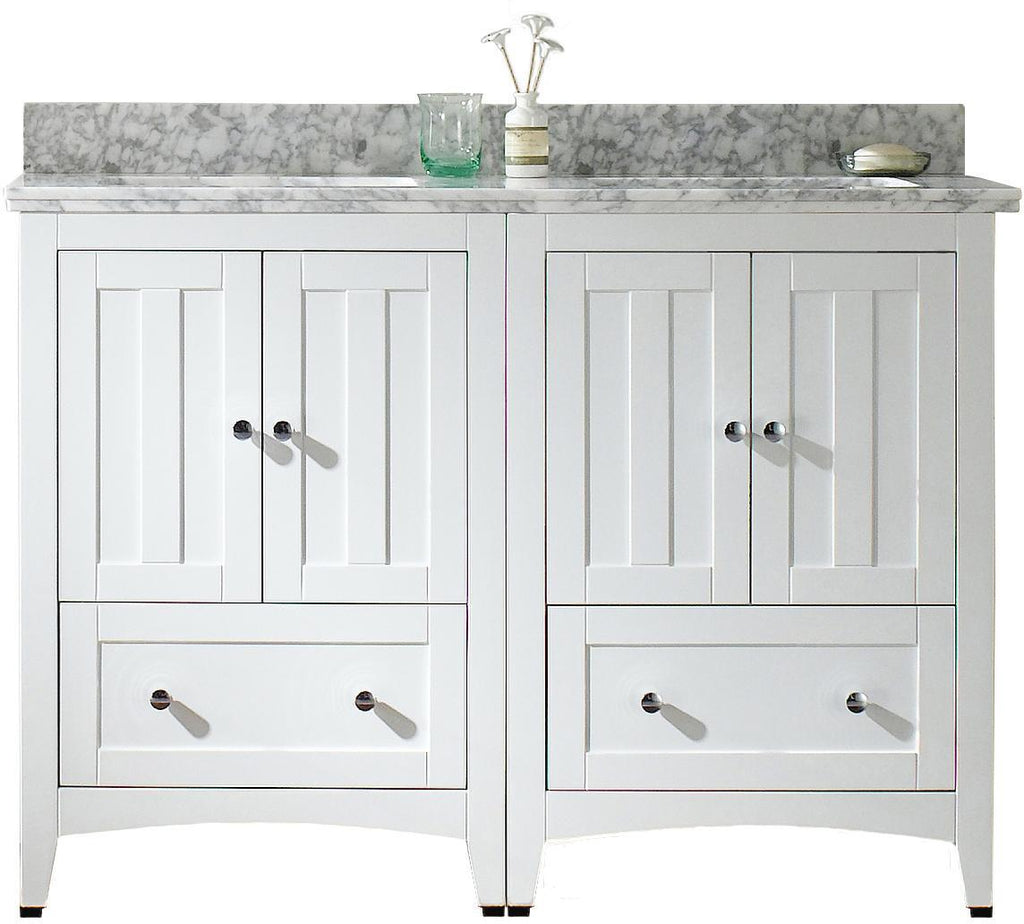 American Imaginations Shaker 47.5-in. W Floor Mount White Vanity Set For 1 Hole Drilling Bianca Carara Top Biscuit UM Sink AI-17794