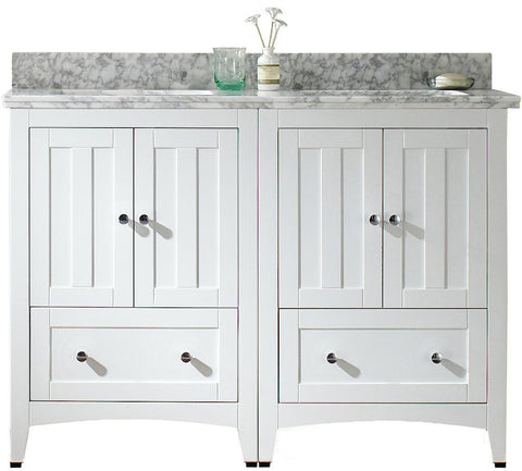 Image of American Imaginations Shaker 47.5-in. W Floor Mount White Vanity Set For 1 Hole Drilling Bianca Carara Top Biscuit UM Sink AI-17794