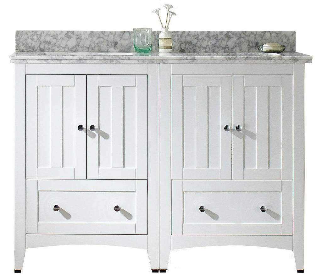 American Imaginations Shaker 47.5-in. W Floor Mount White Vanity Set For 3H8-in. Drilling Bianca Carara Top Biscuit UM Sink AI-17796