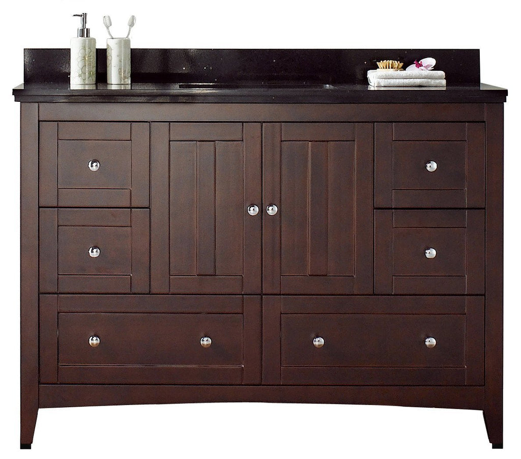 American Imaginations Shaker 47.6-in. W Floor Mount Walnut Vanity Set For 3H4-in. Drilling Black Galaxy Top White UM Sink AI-17643