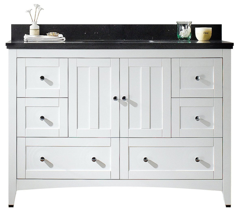 American Imaginations Shaker 47.6-in. W Floor Mount White Vanity Set For 1 Hole Drilling Black Galaxy Top White UM Sink AI-17663