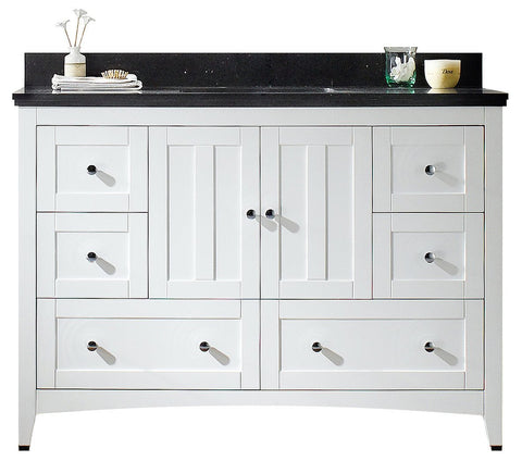 Image of American Imaginations Shaker 47.6-in. W Floor Mount White Vanity Set For 3H4-in. Drilling Black Galaxy Top Biscuit UM Sink AI-17668