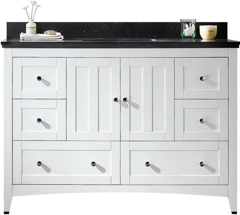 Image of American Imaginations Shaker 47.6-in. W Floor Mount White Vanity Set For 3H4-in. Drilling Black Galaxy Top White UM Sink AI-17667