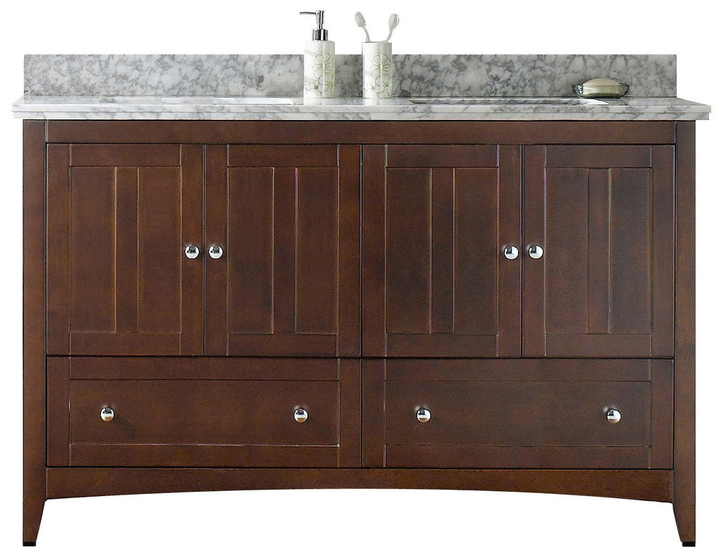 American Imaginations Shaker 59-in. W Floor Mount Walnut Vanity Set For 3H8-in. Drilling Bianca Carara Top White UM Sink AI-17695