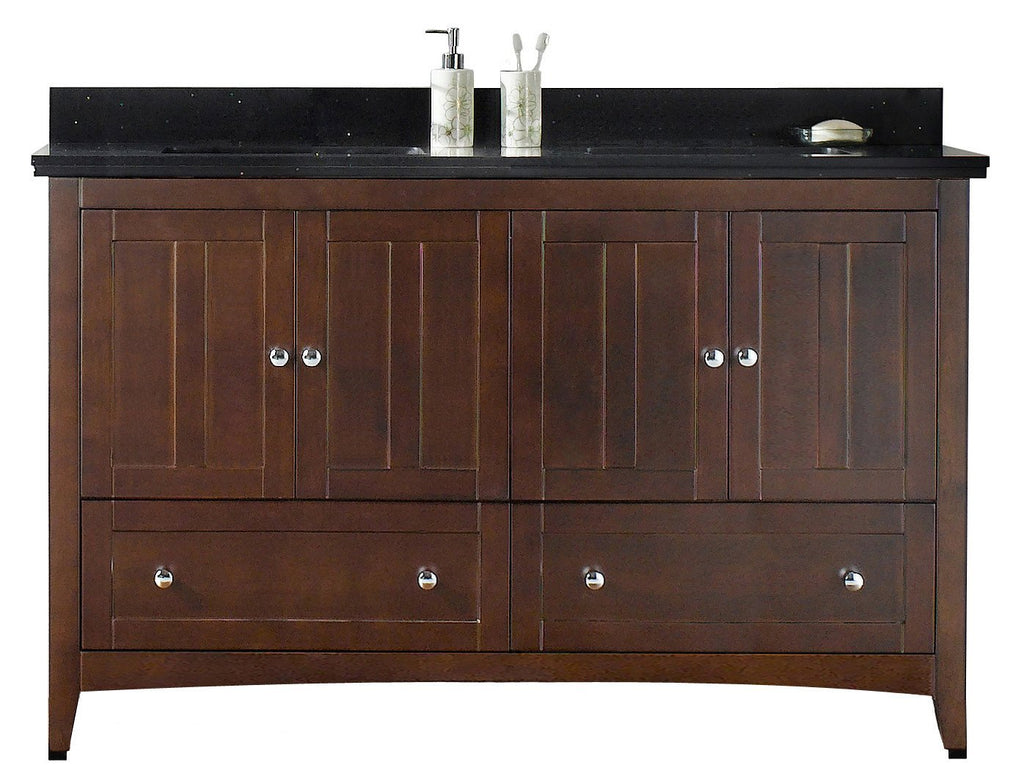 American Imaginations Shaker 59-in. W Floor Mount Walnut Vanity Set For 3H8-in. Drilling Black Galaxy Top White UM Sink AI-17689