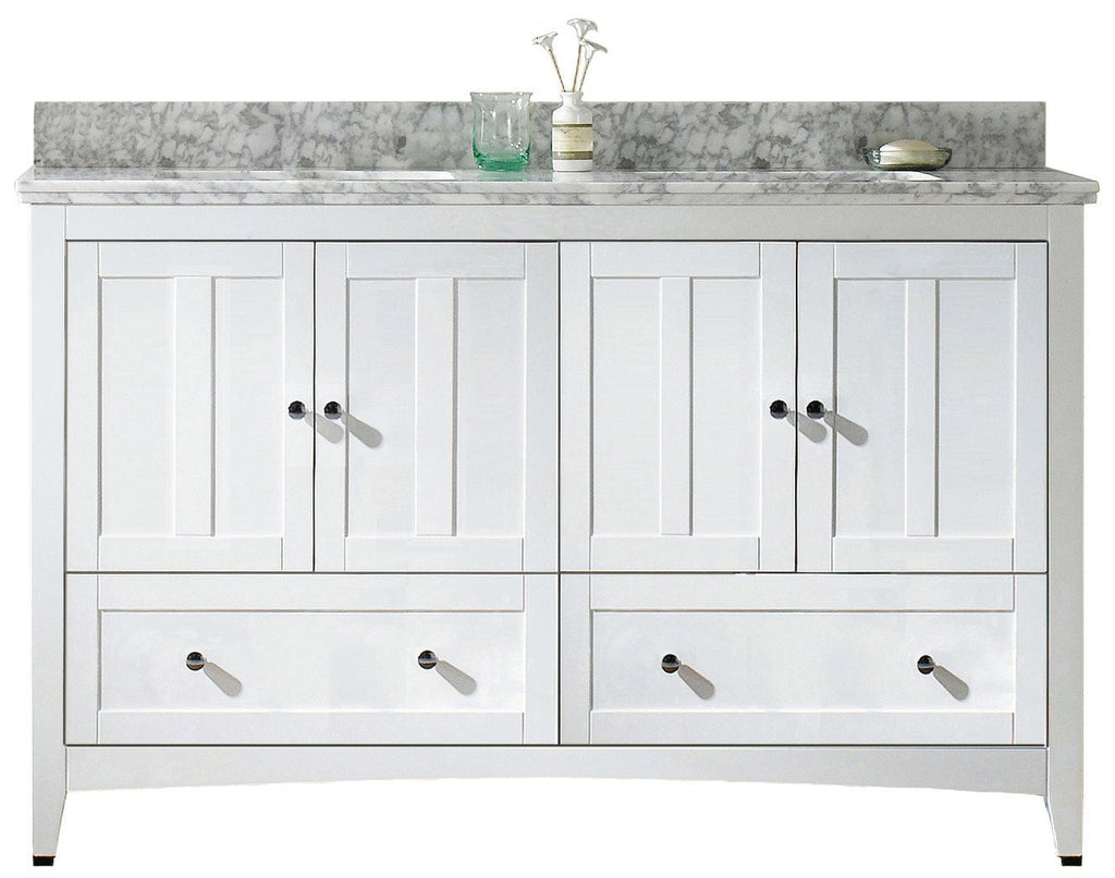 American Imaginations Shaker 59-in. W Floor Mount White Vanity Set For 1 Hole Drilling Bianca Carara Top White UM Sink AI-17717