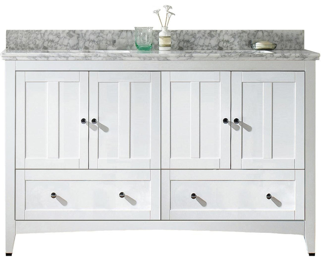 American Imaginations Shaker 59-in. W Floor Mount White Vanity Set For 3H4-in. Drilling Bianca Carara Top White UM Sink AI-17721