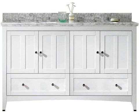 Image of American Imaginations Shaker 59-in. W Floor Mount White Vanity Set For 3H4-in. Drilling Bianca Carara Top White UM Sink AI-17721