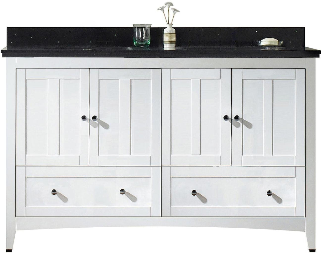 American Imaginations Shaker 59-in. W Floor Mount White Vanity Set For 3H4-in. Drilling Black Galaxy Top White UM Sink AI-17715