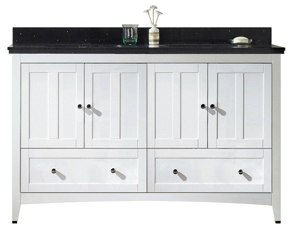 American Imaginations Shaker 59-in. W Floor Mount White Vanity Set For 3H8-in. Drilling Black Galaxy Top Biscuit UM Sink AI-17714