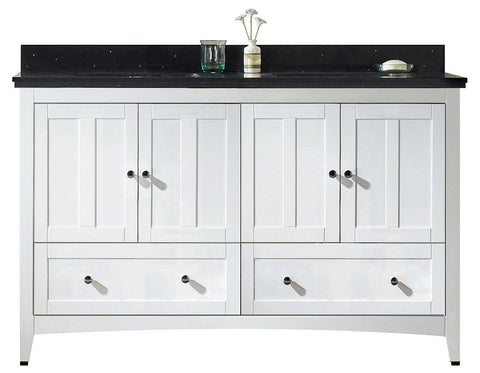 Image of American Imaginations Shaker 59-in. W Floor Mount White Vanity Set For 3H8-in. Drilling Black Galaxy Top Biscuit UM Sink AI-17714