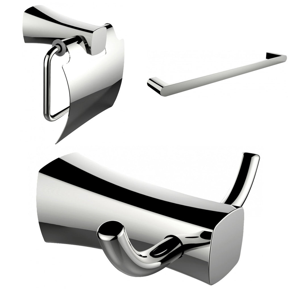 American Imaginations  Single Rod Towel Rack, Robe Hook And Toilet Paper Holder Accessory Set AI-13422