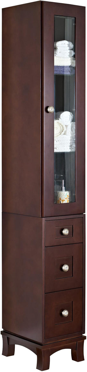 American Imaginations Tiffany 13-in. W X 82-in. H Transitional Birch Wood-Veneer Linen Tower In Coffee AI-563