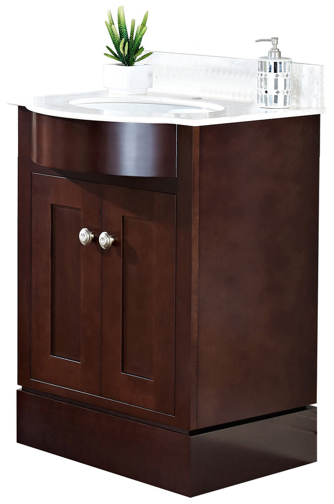 American Imaginations Tiffany 25.5-in. W Floor Mount Coffee Vanity Set For 1 Hole Drilling Beige Top White UM Sink AI-18363