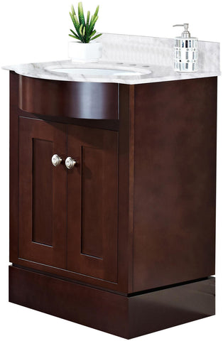 Image of American Imaginations Tiffany 25.5-in. W Floor Mount Coffee Vanity Set For 3H4-in. Drilling Bianca Carara Top White UM Sink AI-18348