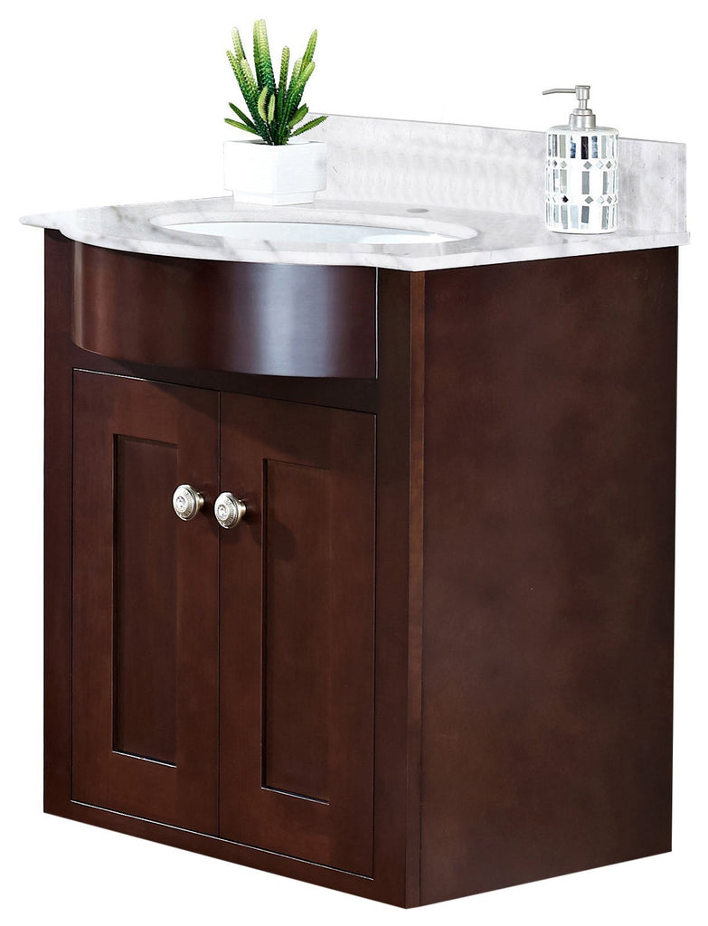 American Imaginations Tiffany 25.5-in. W Wall Mount Coffee Vanity Set For 1 Hole Drilling Bianca Carara Top White UM Sink AI-18340
