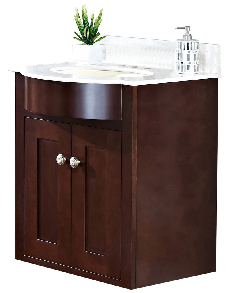 American Imaginations Tiffany 25.5-in. W Wall Mount Coffee Vanity Set For 3H4-in. Drilling Beige Top Biscuit UM Sink AI-18368