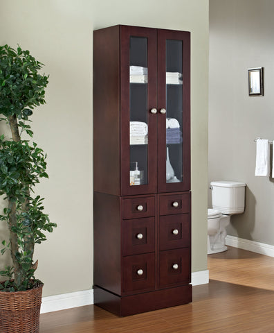 American Imaginations Tiffany 26-in. W X 82-in. H Transitional Birch Wood-Veneer Linen Tower In Coffee AI-566