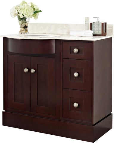 Image of American Imaginations Tiffany 37.8-in. W Floor Mount Coffee Vanity Set For 3H4-in. Drilling Beige Top White UM Sink AI-18438