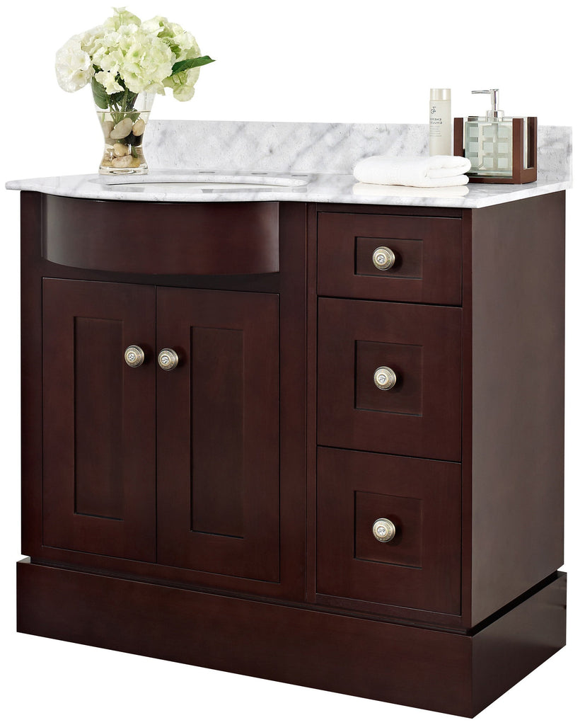 American Imaginations Tiffany 37.8-in. W Floor Mount Coffee Vanity Set For 3H8-in. Drilling Bianca Carara Top Biscuit UM Sink AI-18429