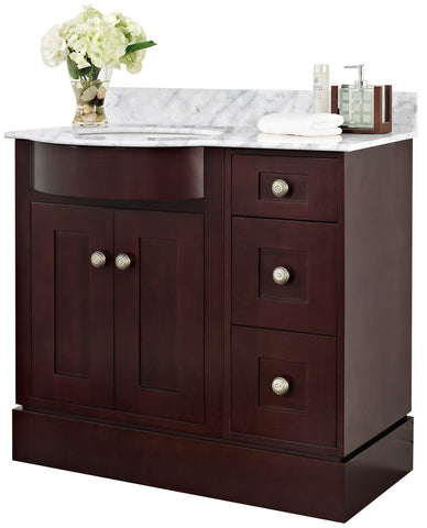 Image of American Imaginations Tiffany 37.8-in. W Floor Mount Coffee Vanity Set For 3H8-in. Drilling Bianca Carara Top White UM Sink AI-18420