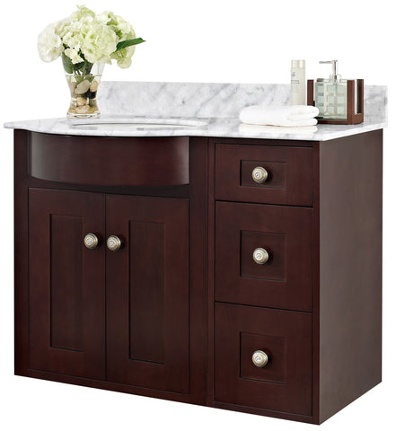 Image of American Imaginations Tiffany 37.8-in. W Wall Mount Coffee Vanity Set For 3H8-in. Drilling Bianca Carara Top White UM Sink AI-18414