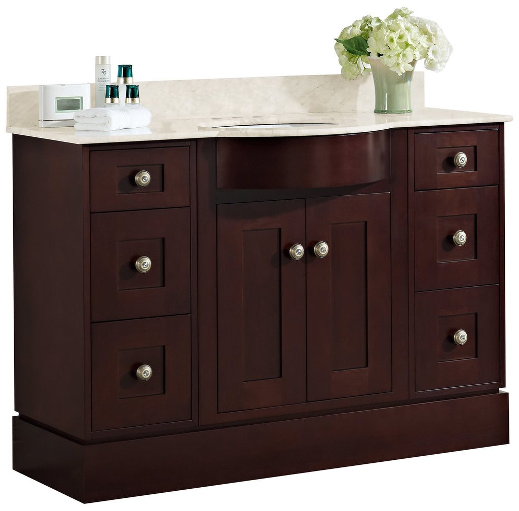 American Imaginations Tiffany 48-in. W Floor Mount Coffee Vanity Set For 3H4-in. Drilling Beige Top Biscuit UM Sink AI-18480