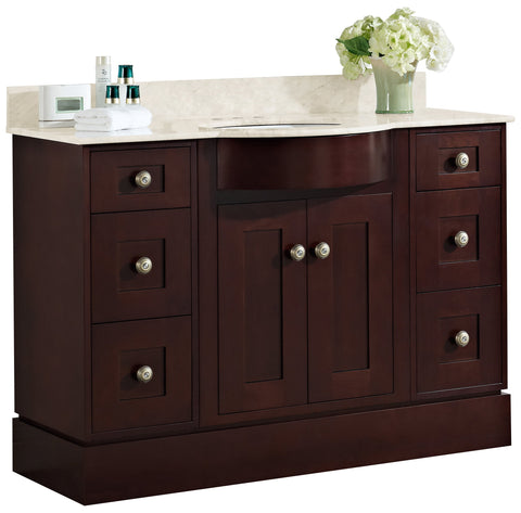 Image of American Imaginations Tiffany 48-in. W Floor Mount Coffee Vanity Set For 3H4-in. Drilling Beige Top Biscuit UM Sink AI-18480