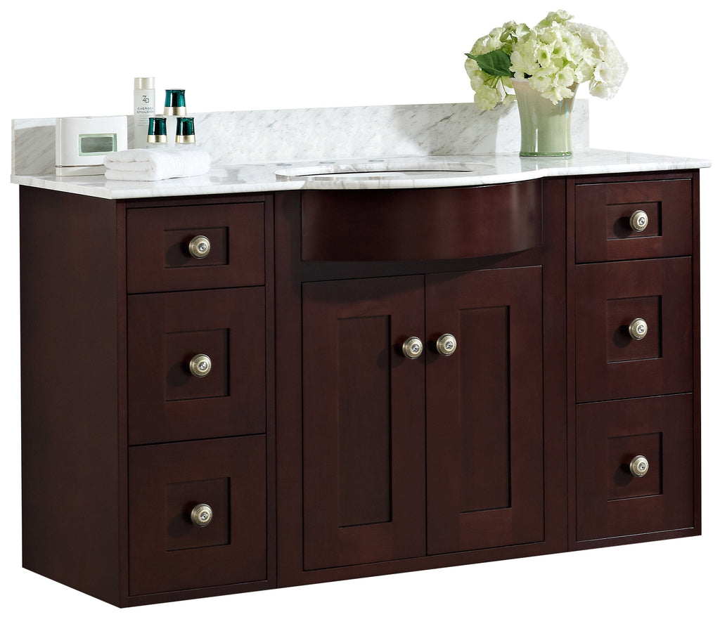 American Imaginations Tiffany 48-in. W Wall Mount Coffee Vanity Set For 3H8-in. Drilling Bianca Carara Top Biscuit UM Sink AI-18456