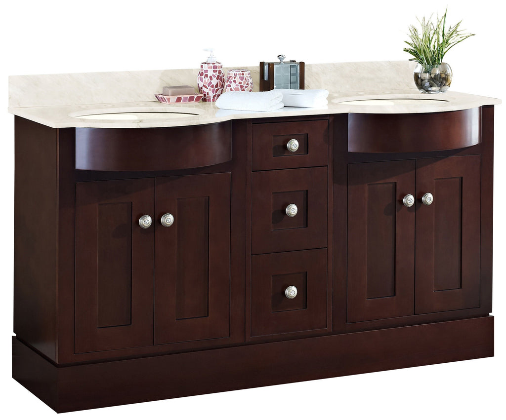 American Imaginations Tiffany 60-in. W Floor Mount Coffee Vanity Set For 3H8-in. Drilling Beige Top Biscuit UM Sink AI-18513