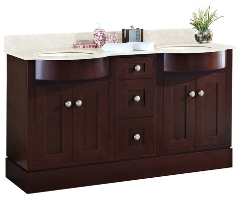 Image of American Imaginations Tiffany 60-in. W Floor Mount Coffee Vanity Set For 3H8-in. Drilling Beige Top Biscuit UM Sink AI-18513