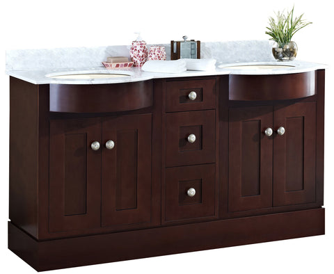 Image of American Imaginations Tiffany 60-in. W Floor Mount Coffee Vanity Set For 3H8-in. Drilling Bianca Carara Top Biscuit UM Sink AI-18495
