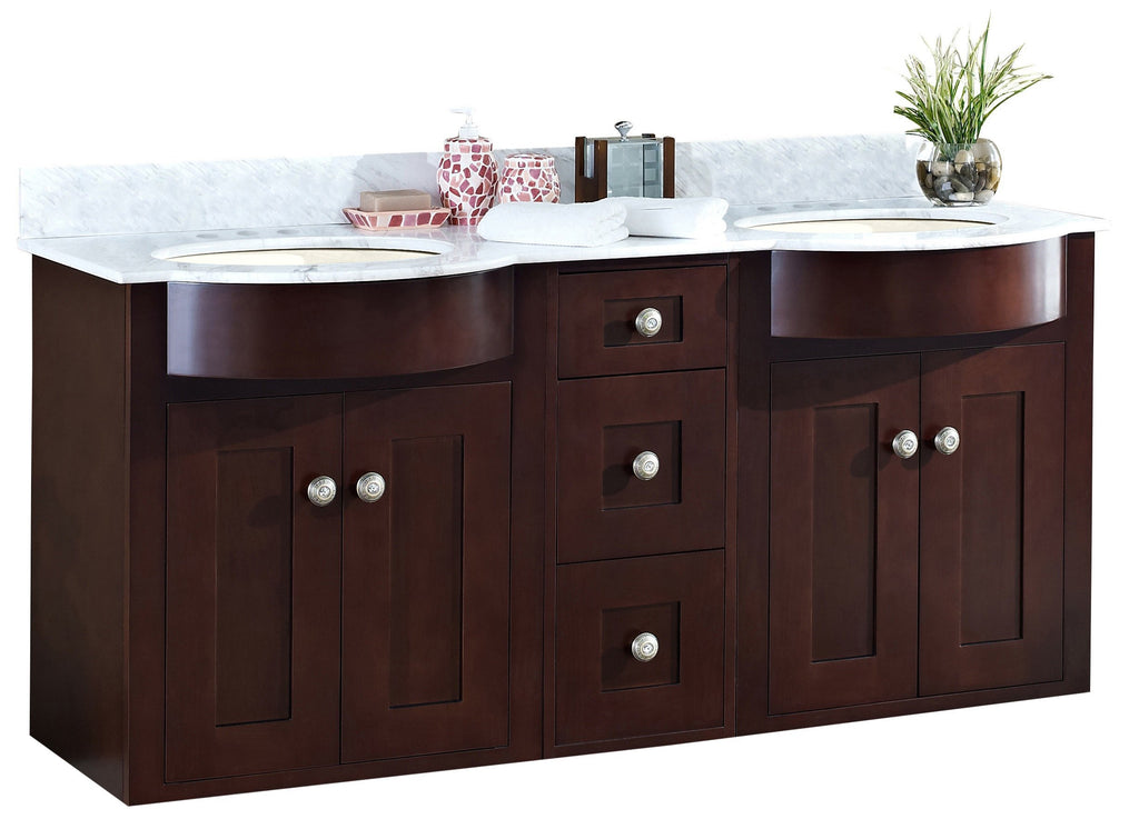 American Imaginations Tiffany 60-in. W Wall Mount Coffee Vanity Set For 3H4-in. Drilling Bianca Carara Top Biscuit UM Sink AI-18491