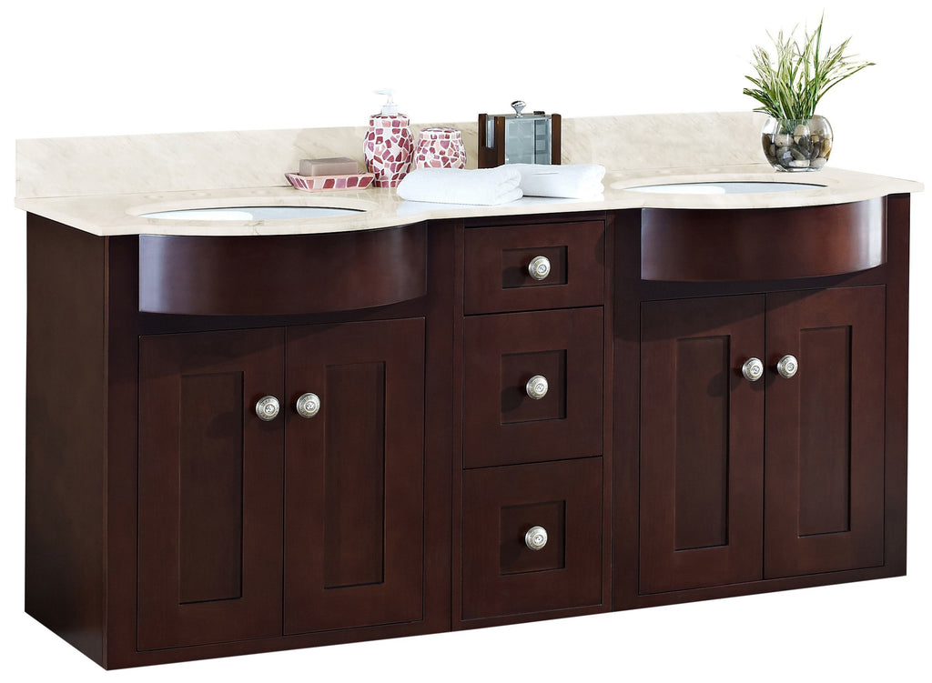 American Imaginations Tiffany 60-in. W Wall Mount Coffee Vanity Set For 3H8-in. Drilling Beige Top White UM Sink AI-18498