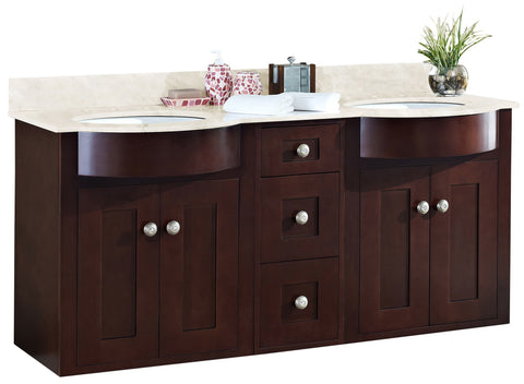 Image of American Imaginations Tiffany 60-in. W Wall Mount Coffee Vanity Set For 3H8-in. Drilling Beige Top White UM Sink AI-18498