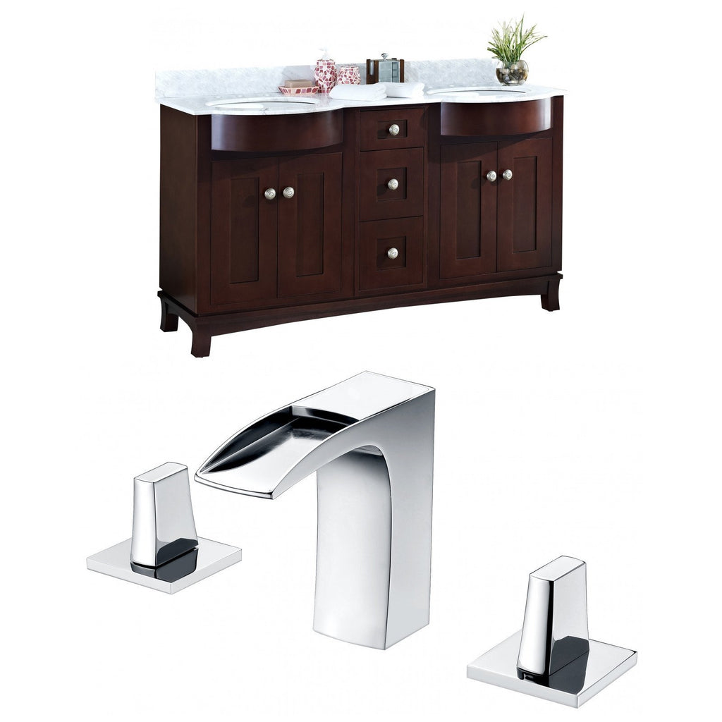 American Imaginations Tiffany 61.8-in. W Floor Mount Coffee Vanity Set For 3H8-in. Drilling Bianca Carara Top White UM Sink AI-8886