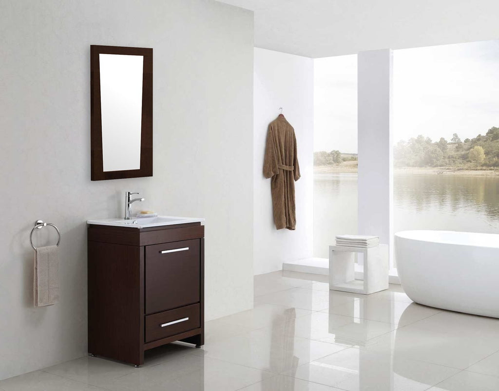 American Imaginations Vee 21.5-in. W X 33.5-in. H Modern Plywood-Melamine Wood Mirror In Wenge AI-1210