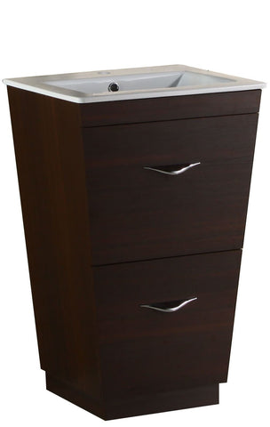 Image of American Imaginations Vee 21-in. W Floor Mount Wenge Vanity Set For 1 Hole Drilling AI-1203