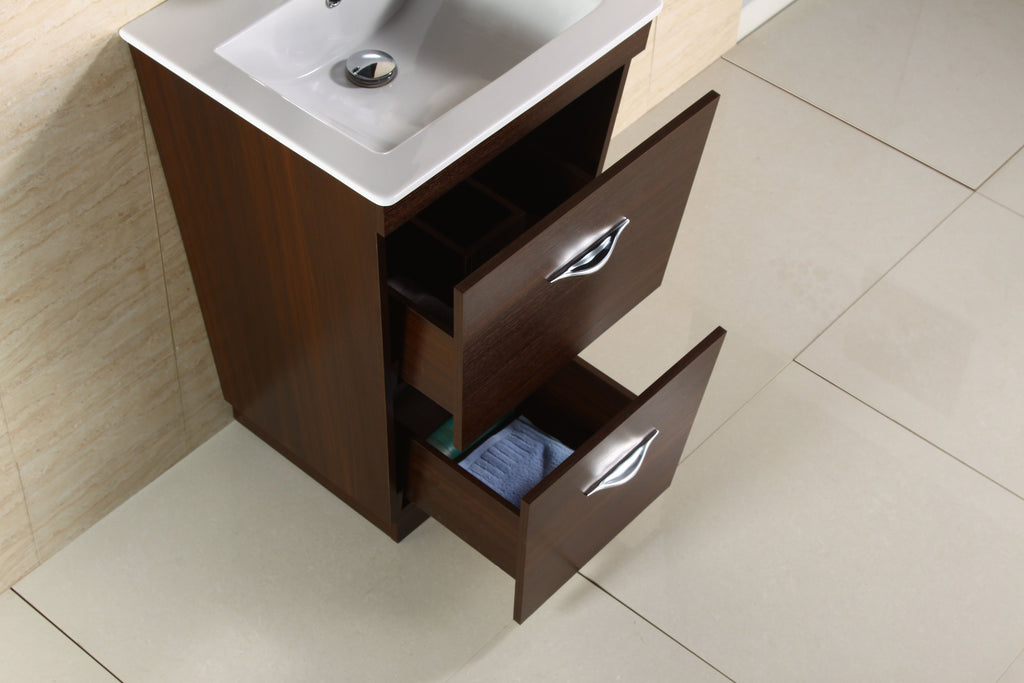 American Imaginations Vee 21-in. W Floor Mount Wenge Vanity Set For 1 Hole Drilling AI-1203