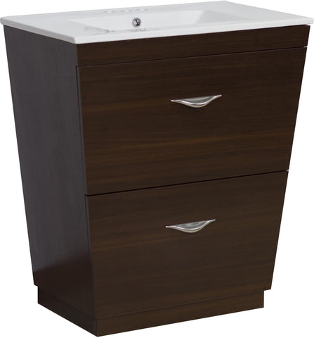 Image of American Imaginations Vee 21-in. W Floor Mount Wenge Vanity Set For 3H4-in. Drilling AI-1201