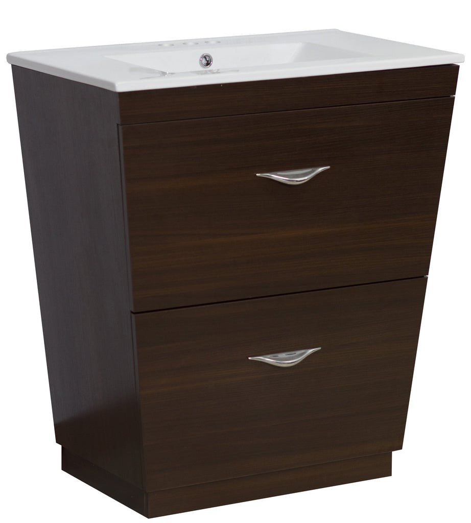 American Imaginations Vee 30-in. W Floor Mount Wenge Vanity Set For 3H4-in. Drilling AI-1193