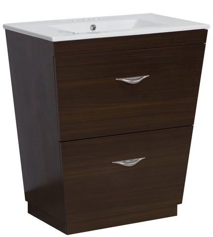 Image of American Imaginations Vee 30-in. W Floor Mount Wenge Vanity Set For 3H4-in. Drilling AI-1193