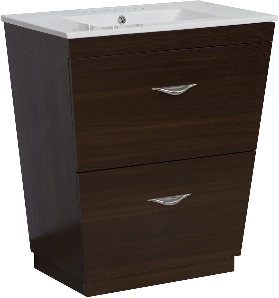 American Imaginations Vee 30-in. W Floor Mount Wenge Vanity Set For 3H8-in. Drilling AI-1191