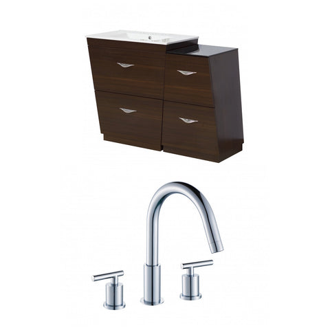 Image of American Imaginations Vee 43.25-in. W Floor Mount Wenge Vanity Set For 3H8-in. Drilling AI-9252