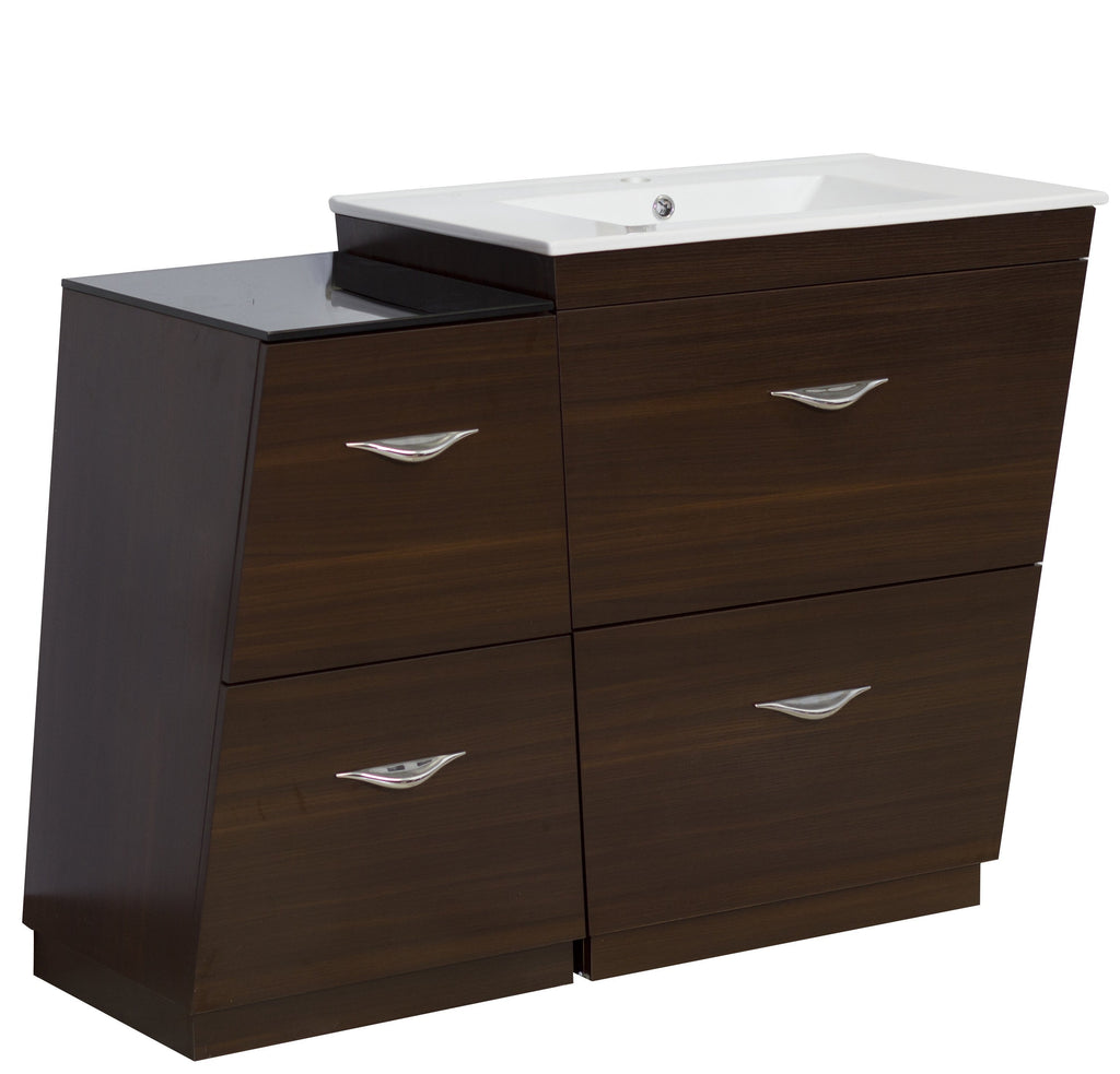 American Imaginations Vee 49.5-in. W Floor Mount Wenge Vanity Set For 1 Hole Drilling AI-1279