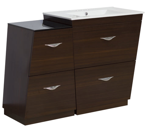 Image of American Imaginations Vee 49.5-in. W Floor Mount Wenge Vanity Set For 3H4-in. Drilling AI-1277