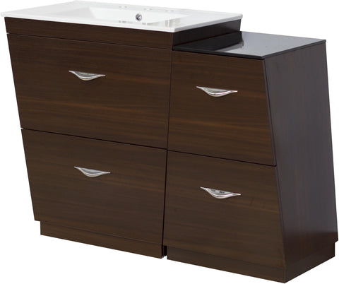 Image of American Imaginations Vee 49.5-in. W Floor Mount Wenge Vanity Set For 3H8-in. Drilling AI-1278