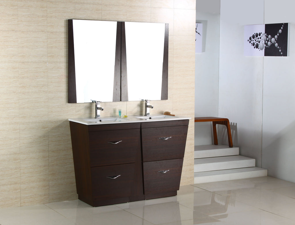 American Imaginations Vee 59-in. W Floor Mount Wenge Vanity Set For 1 Hole Drilling AI-1212