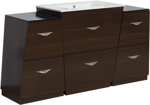 Image of American Imaginations Vee 60-in. W Floor Mount Wenge Vanity Set For 3H4-in. Drilling AI-1263