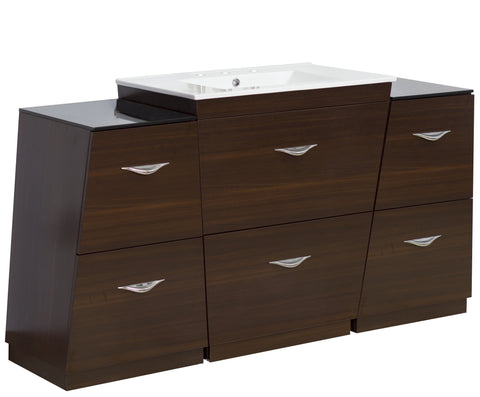 Image of American Imaginations Vee 60-in. W Floor Mount Wenge Vanity Set For 3H8-in. Drilling AI-1262